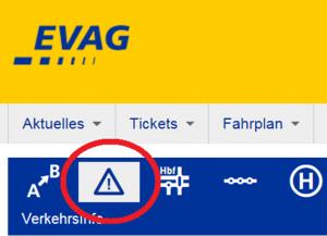 Im Internet informiert die EVAG über Störungen und Verspätungen.