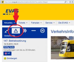Über Verspätung informieren auf evag.de